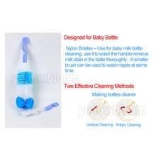 2pcs/set Baby Bottle Brush Nipple Brush Milk Feeding Bottle Brushes Teat cleaning Brush Bottle Sponge rotating washing