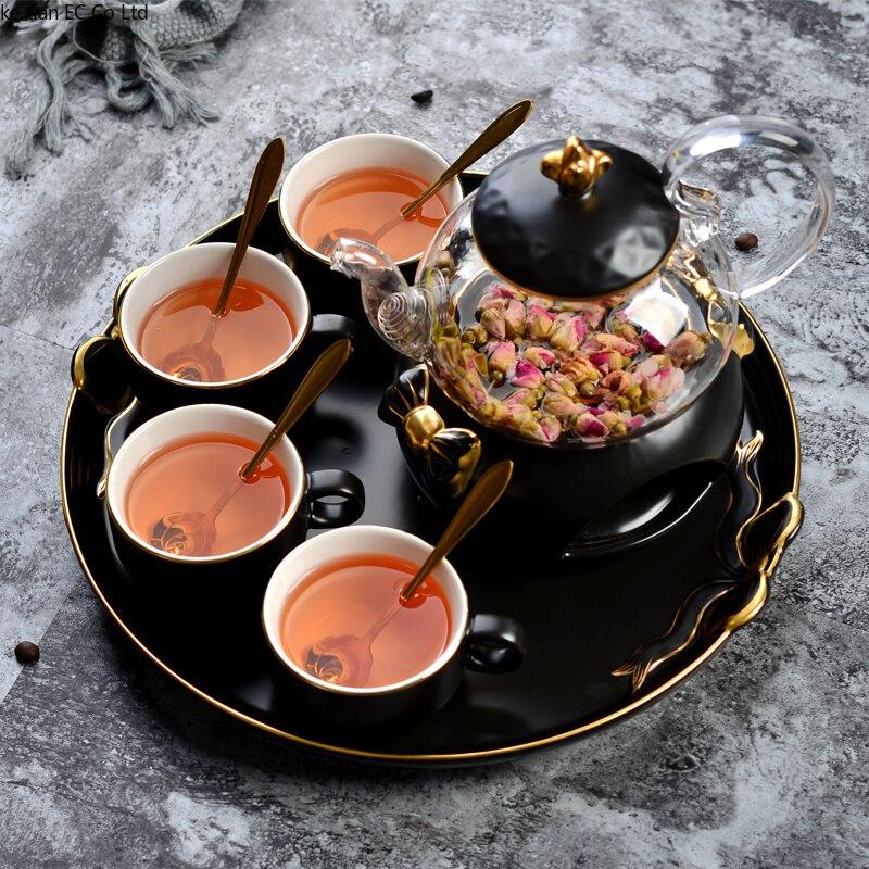 Ensemble de tasse à café simple nordique théière ensemble thé anglais après-midi théière en céramique chauffée en verre avec plateau bougie