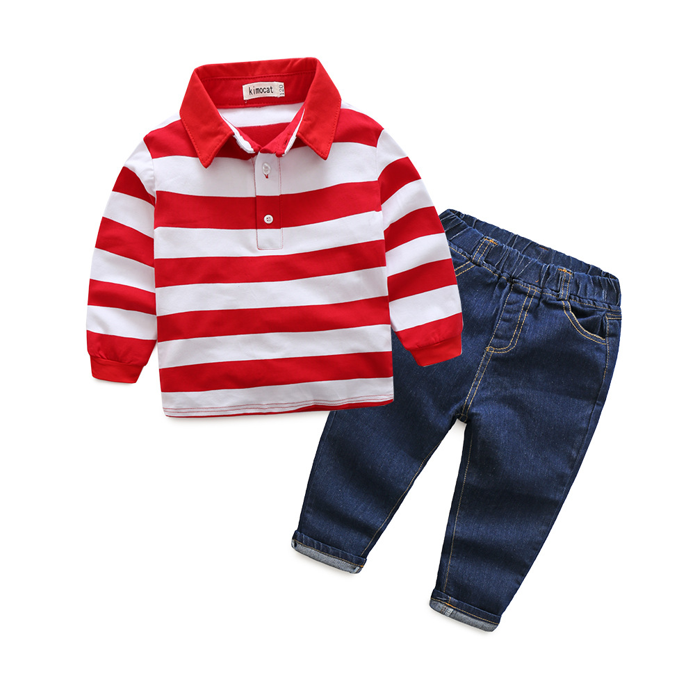 Autumn baby boys red sriped long sleeve cotton polo shirt jeans set fashion infant kids casual clothes gentleman outwear 18M06 2pcs children outfit clothes kids baby girl off shoulder cotton ruffled sleeve tops striped t shirt blue denim jeans sunsuit set