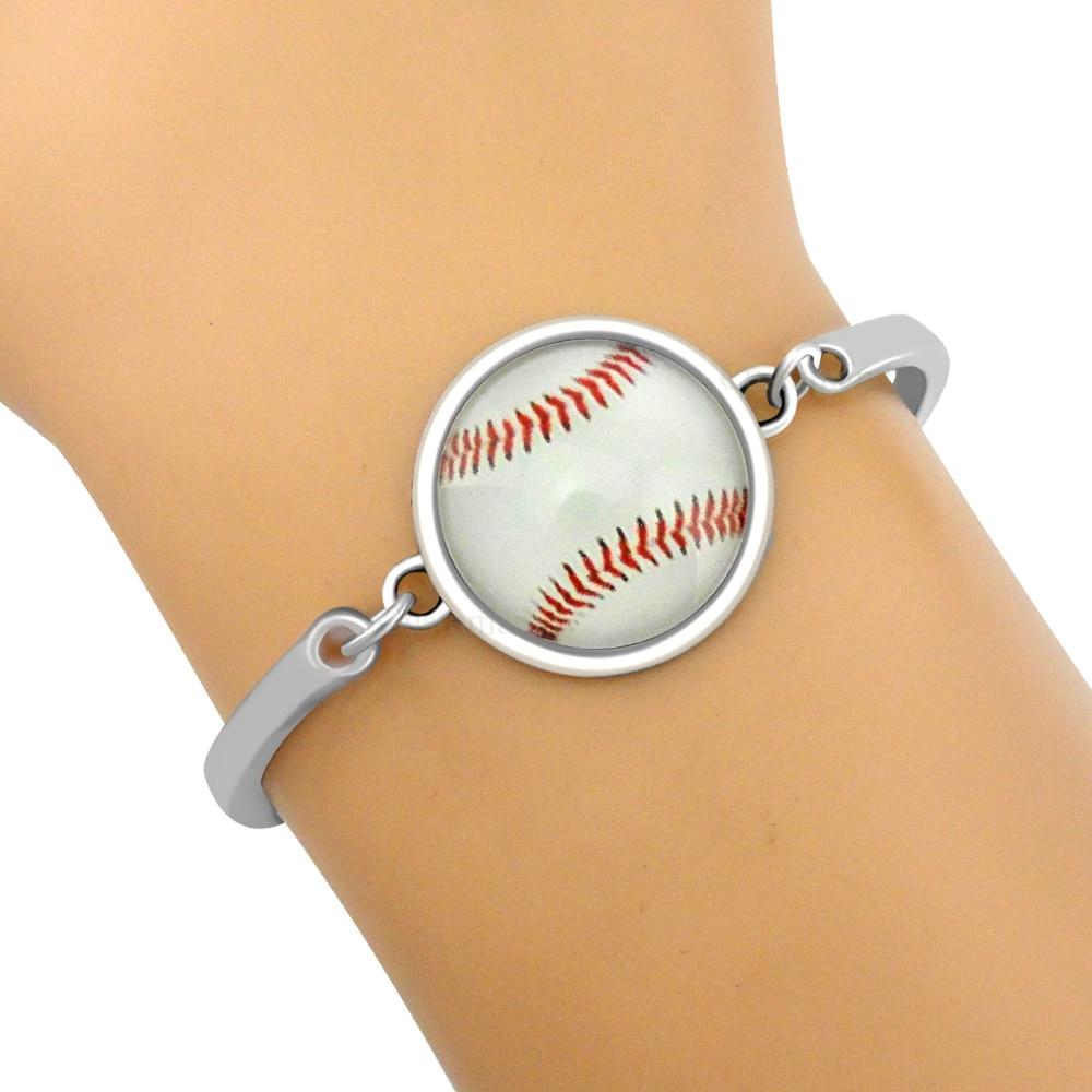 Football Volleyball Softball Baseball Skate Tennis Golf Sports Silver 18mm Glass Cabochon Charm Bangles Bracelets Women Jewelry
