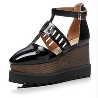 Women Heels Genuine Leather Women Pumps 2018 Top Quality High Heels Big Size Wedges Shoes 8
