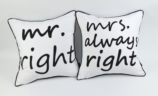 """18 """"* 18"""" capa de almofada Mr Right and Mrs Always Right White Throw Polštářové pouzdro na svatební dárky, 2 ks"""