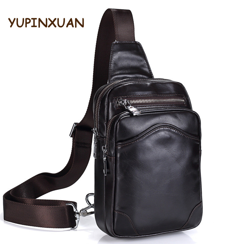 YUPINXUAN Top Quality Soft Cow Leather Chest Bags for Men Coffee Color Genuine Leather Chest Packs Large Capacity Male Sling Bag slim fit design mega storage capacity holster shape chest bag for men armpit oxter sling bag