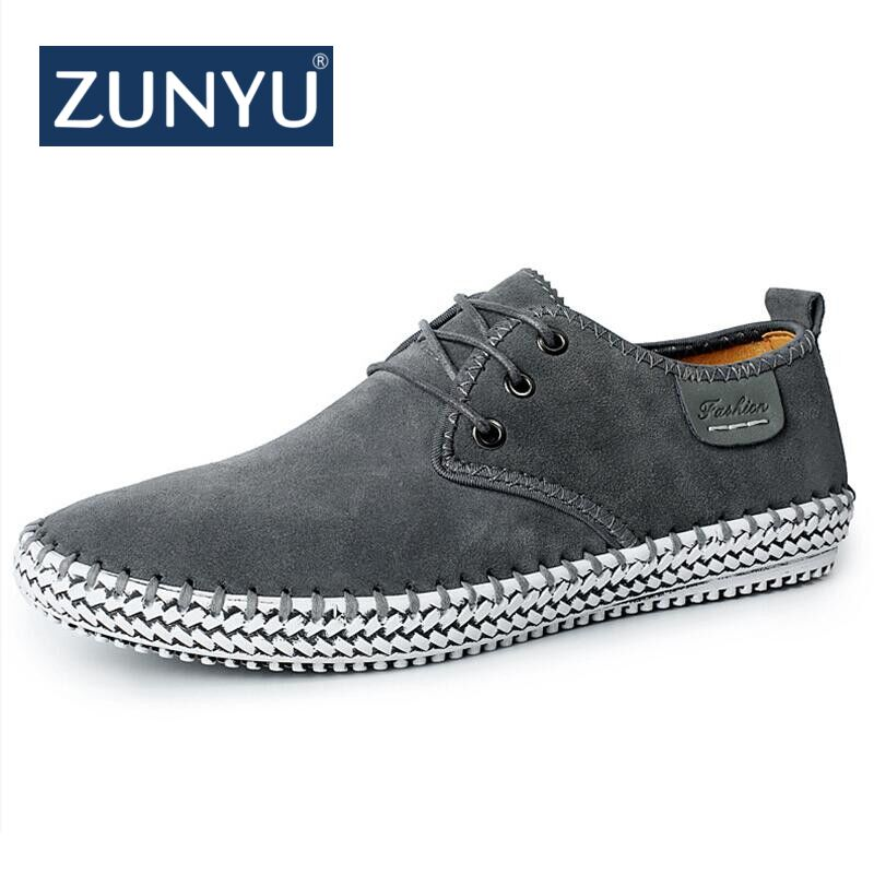 ZUNYU Brand Minimalist Design 100% Genuine   Suede     Leather   Mens Leisure Flat Brand Spring Formal Casual Dress Flat Oxford Shoes