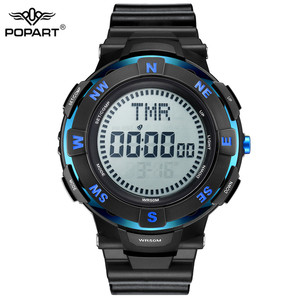 Image 2 - POPART Mens Watches Compass World Time Stopwatch Down Counter Alarm LED Digital Sport Watches For Men Clock Relogio Masculino