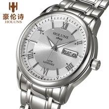 Люкс полный нержавеющей стали часы мужчины бизнес случайный кварцевые часы военные наручные часы водонепроницаемые 2017 holuns relogio новый продажа