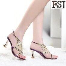 купить FSJ Sandals Women Shoes Genuine Leather Cow Leather High Heel Spike Heels Buckle Strap Solid Crystal Pigskin EU Size 33-41 по цене 2930.23 рублей
