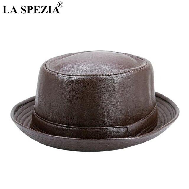 LA SPEZIA Men Fedora Cap Brown Women Casual Retro Jazz Hats Faux Leather Vintage Trilby Hat Spring Autumn Classic Panama Cap