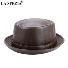 LA SPEZIA Men Fedora Cap Brown Women Casual Retro Jazz Hats Faux Leather Vintage