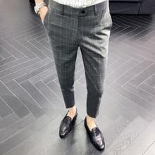 ICPANS, летние офисные клетчатые мужские брюки, для отдыха, повседневные, деловые, формальные, мужской костюм, брюки, рабочие брюки, одежда