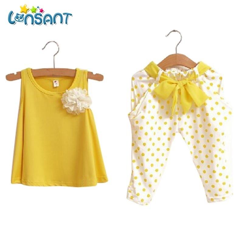 LONSANT Neue Baby Mädchen Kleidung Set Solide Sleeveless Weste Dot Hose Conjunto Menina Hohe Qualität Baumwolle Kinder Kleidung