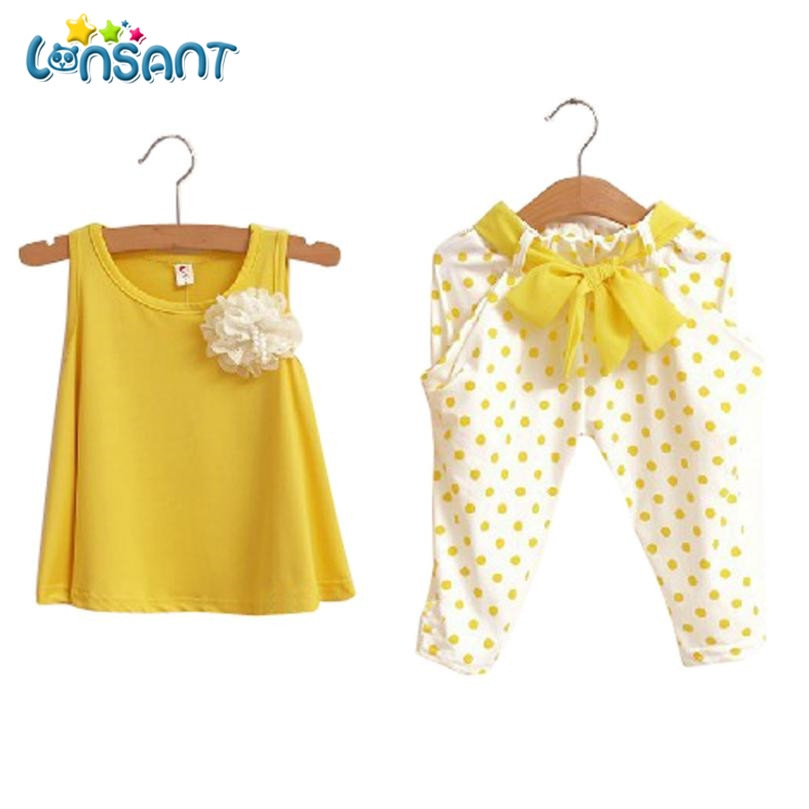 LONSANT New Baby Girl Clothes Set Solid Sleeveless Vest Dot Pant Conjunto Menina High Quality Cotton Children Clothing 2017 new kids clothes girls kitty clothing minnie sets baby cotton costumes children girl pajamas set roupas conjunto menina