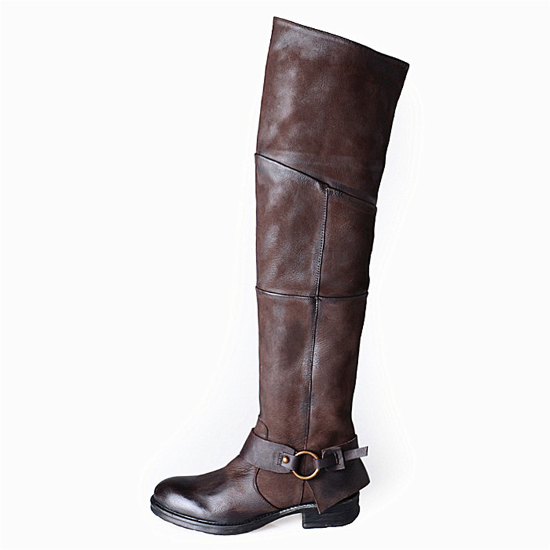 Prova Perfetto estilo atractivo botas de mujer de cuero de gamuza punta redonda Casual sobre la rodilla botas de diseño plisado remaches botas de mujer-in Botas sobre la rodilla from zapatos    2