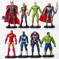 8 pçs/set O Homem De Ferro Avengers Age of Ultron Ultron Nick Fury Capitão América Hulk Brinquedos Action Figure