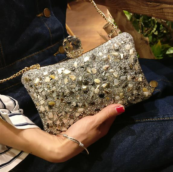 Luxury fashion diamond stone ladies dinner party evening bag Women's Evening Bags