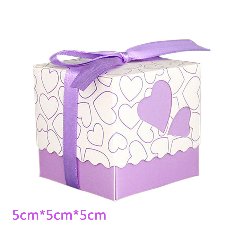 20pcs Love Heart Purple Pink Small Laser Cut Gift Candy Boxes ...