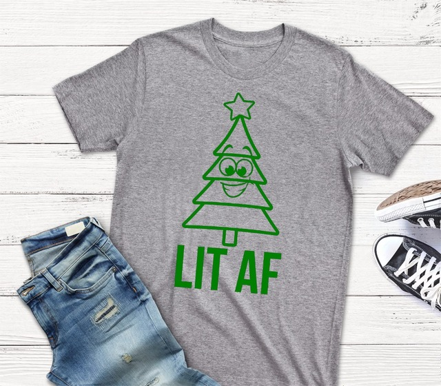 Lit AF Christmas Shirt funny tree graphic women fashion grunge tumblr gray  tee camisetas cute gift for family aesthetic tee tops 670aca67b48c