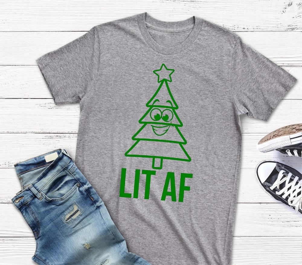 Gastvrij Lit Af Kerst Shirt Grappige Boom Grafische Vrouwen Mode Grunge Tumblr Grijs Tee Camisetas Leuke Gift Voor Familie Esthetische Tee Tops