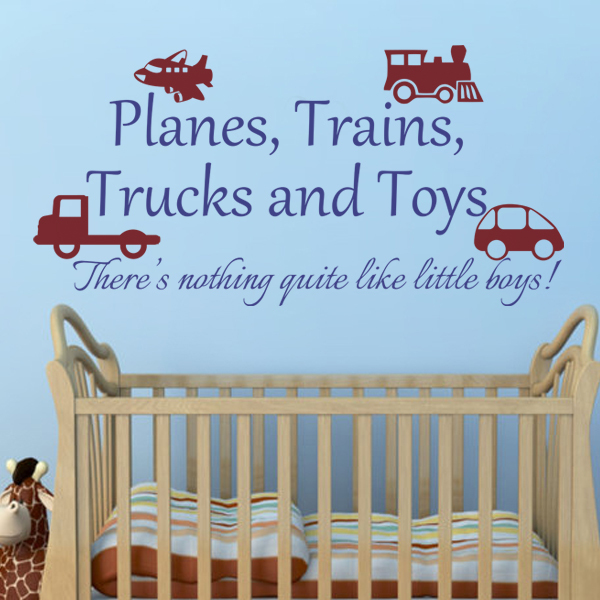 Playroom Decal Planes Trains Trucks And Toys Boy Wall Sticker Baby