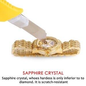 Image 3 - BINLUN 18K altın lüks otomatik İzle İskelet hareket izleme erkek safir kristal elmas otomatik iş erkek saatler