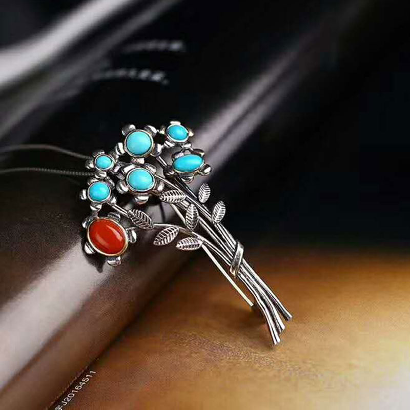 RADHORSE  Pendant 925 Sterling Silver  Fine Jewelry  Turquoise a tree blossom Modeling  S925 Silver Pendants Brooch Dual use : 91lifestyle