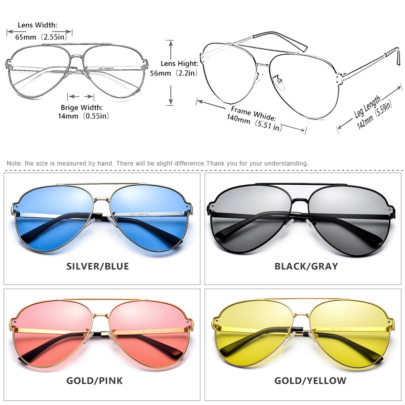 Image 2 - Brand Aviation Blue Pink Driving Photochromic Sunglasses Men Women Polarized Chameleon Sun Glasses Male oculos de sol masculino-in Men's Sunglasses from Apparel Accessories