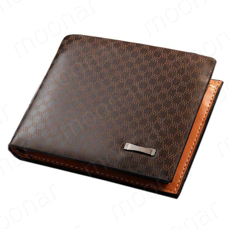 1 Piece Free Shipping 2016 New Fashion PU Leather Plaid Wallet Male Bag Brand Men Wallets Handbag Purse D1109-99