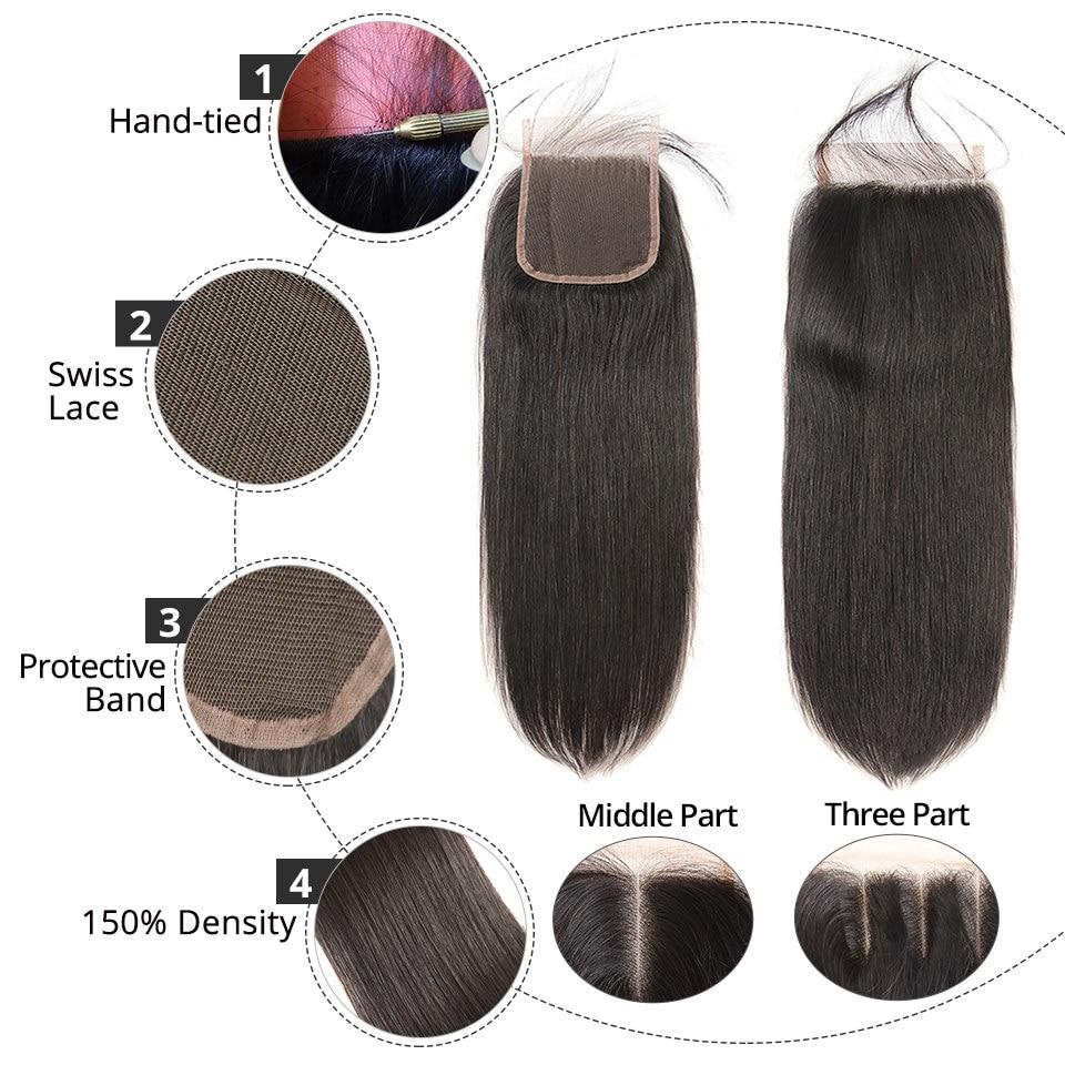 Hair Extensions & Wigs Alipearl Hair 100% Human Hair Bundles With Closure Brazilian Straight Hair Weave 3 Bundles Natural Black Remy Hair Extensions