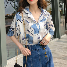 Harajuku Women Blouse and Tops Vintage Printed Korean Short Sleeve Casual blusas female lad