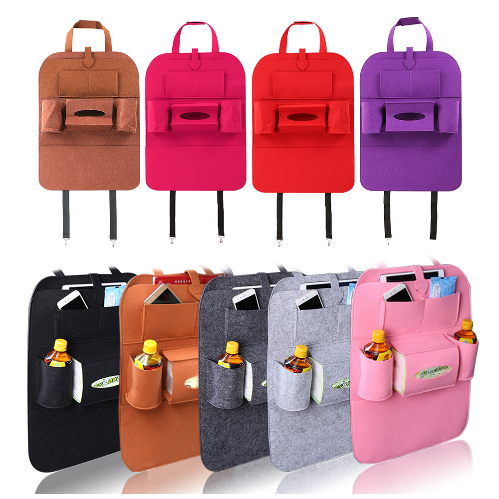 Car Storage Bag Universal Back Seat Organizer Box Felt Covers Backseat Holder Multi-Pockets Container Stowing Tidying Styling(China)