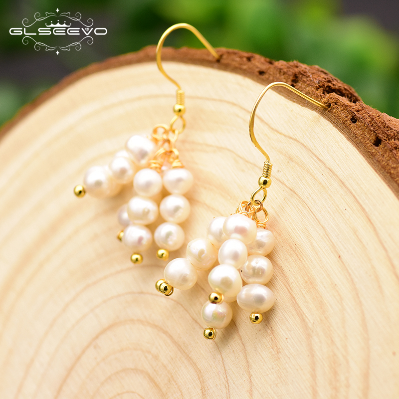 XlentAg Original Design Natural Fresh Water Pearl Drop Earrings For Women Party Bijoux Jewellery Boucles D Oreille Femme GE0717 in Earrings from Jewelry Accessories