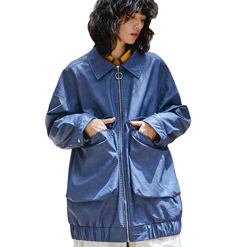 Womens Fashion Big Pocket Faux Leather   Trench   Coat 2019 New Arrival Streetwear Harajuku Style Blue Spring Coat Women Overcoat