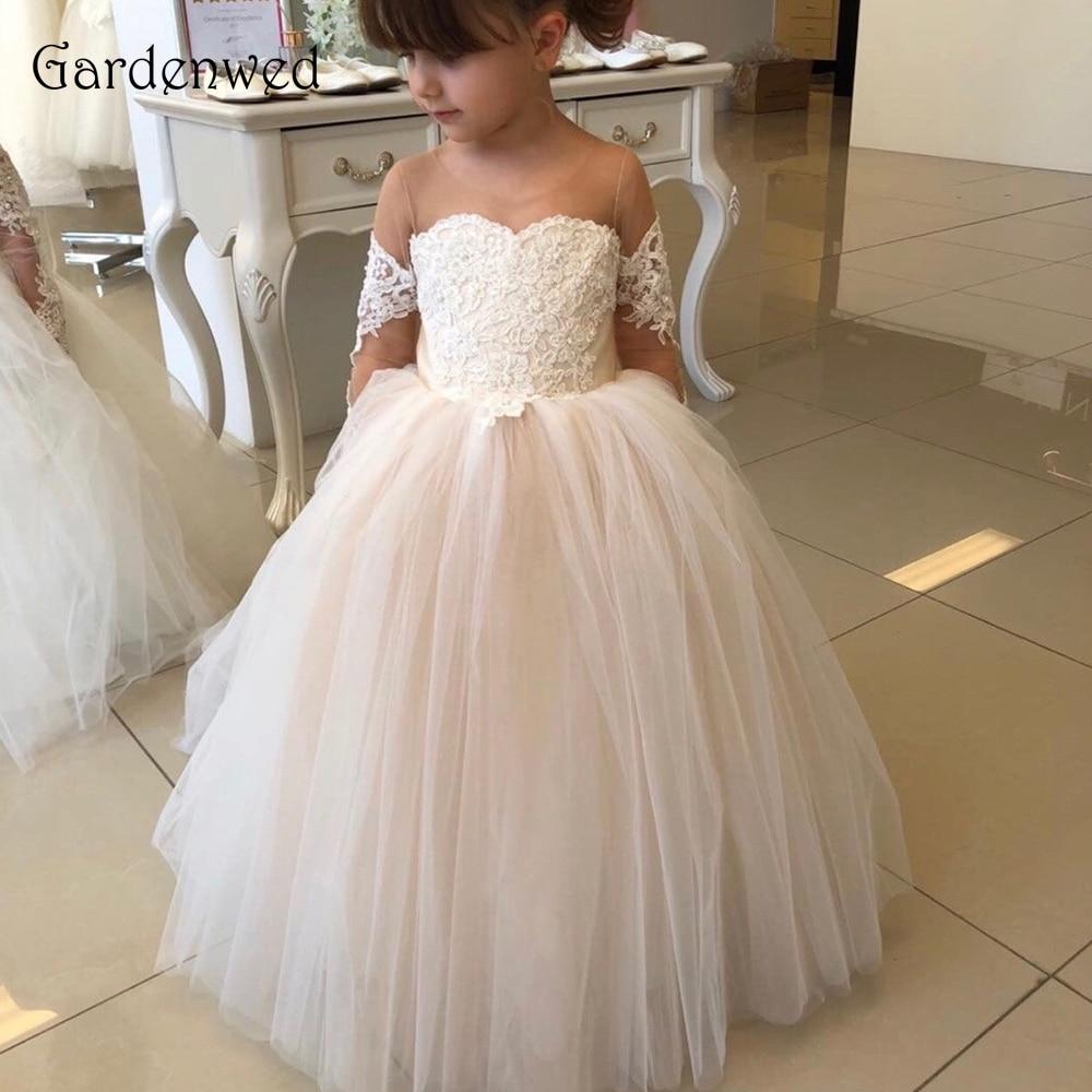 Cute Lace Appliques   Flower     Girl     Dresses   2019 Shoulder Illusion Nude Sheer Tulle Long Sleeves Ball Gown vestido de floristas