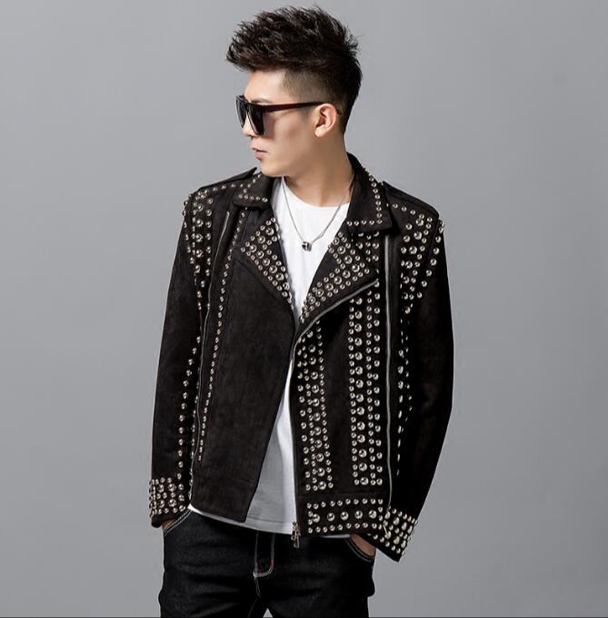 men's nightclub casual handmade rivet fashion coat version of lapel diagonal zipper jacket locomotive punk costumes S L