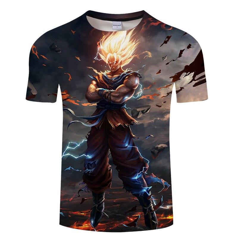 2018 Dragon Ball T shirt 3D hombres t-mierdas Anime camiseta harajuku Comics bola Z de Goku impresión moda extraño cosas S-6XL