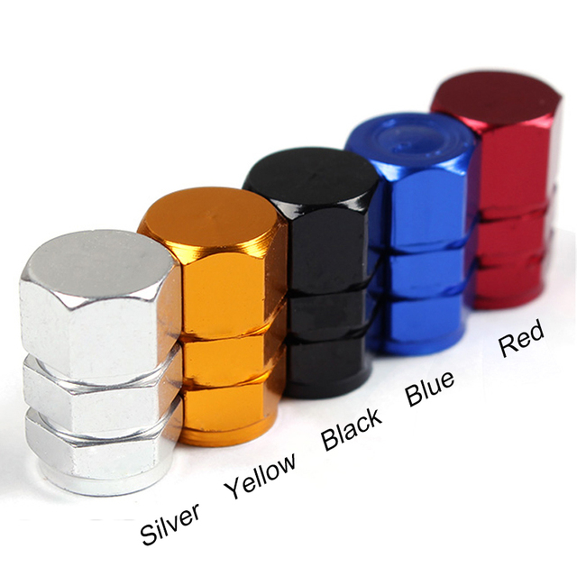 4PCS Universal Aluminum Car Tyre Air Valve Caps Bicycle Tire Valve Cap Auto Wheel Styling Round A1