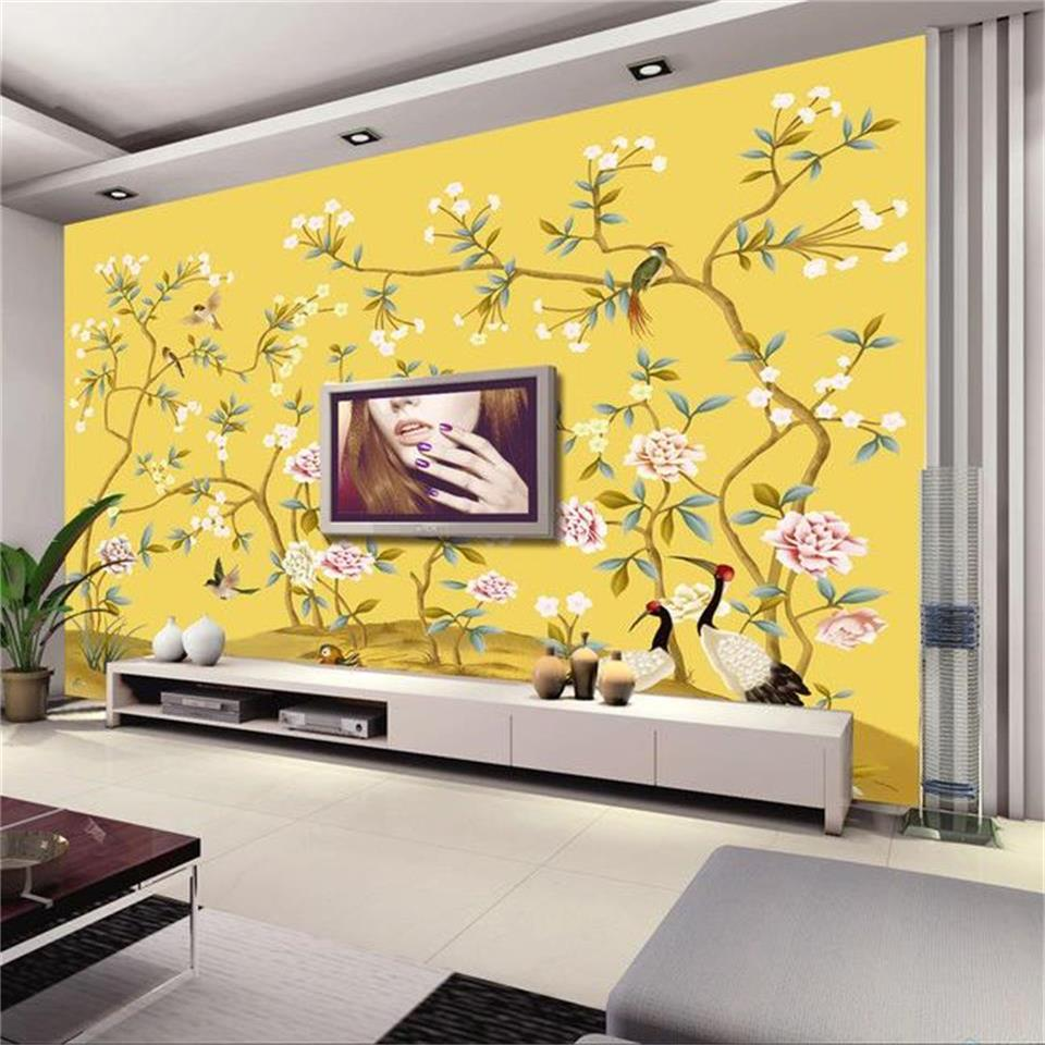 3d wallpaper photo wallpaper custom mural living room hand painted flowers and birds 3d painting sofa TV background wall sticker hand painted silk wallpaper painting lotus with birds hand painted wall paper wallcovering many pictures backgrounds optional