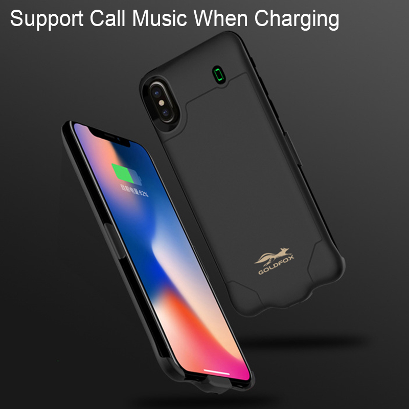 GOLDFOX 4000/6000Mah Ultra Thin Battery Charging Case Support Music Call For iPhone X Power Bank Battery Cover Case Backup