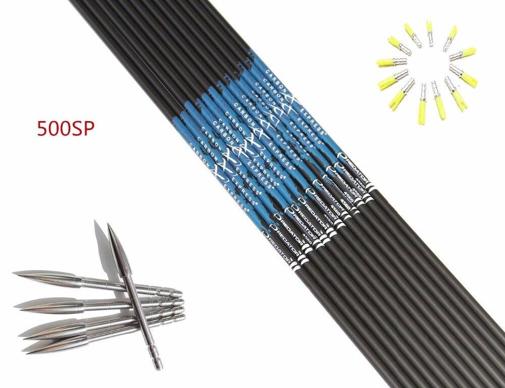 12pcs Shooting carbon arrow shaft ID4 2mm sp500 600 700 800 12pcs pin nock 12pcs Stainless