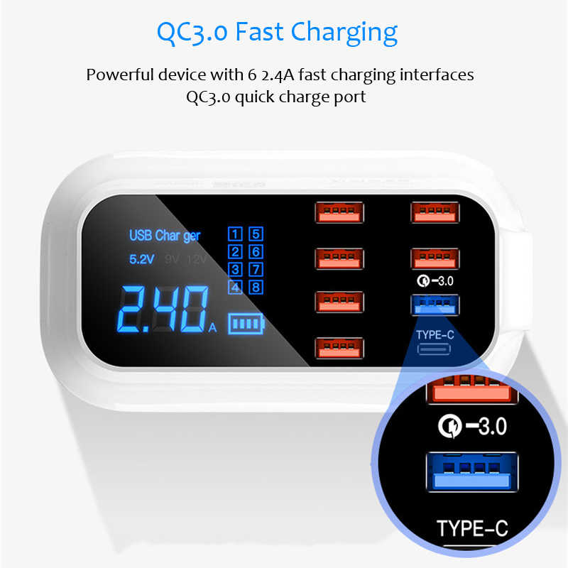 Quick Charge 3.0 USB Type - C Charger Station จอแสดงผล Led ชาร์จโทรศัพท์อะแดปเตอร์ชาร์จเดสก์ท็อปผนัง charger