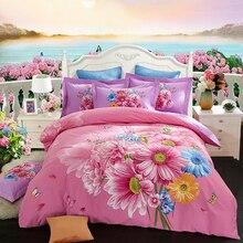 Тюльпан Маргаритка розовый комплект постельного белья с цветами 4 шт. queen King size ткань хлопок с начесом пододеяльник наволочка простыни для зимы