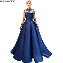 ab85c7493a Elegante azul real vestidos de noche con Crystal cuello alto transparente  de manga larga vestidos de noche 2018