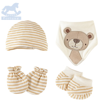Luvena Fortuna 2018 Newborn Baby Boys Girls Cotton Gift Set Cap Bandana Bib Sock Mitten 4pcs