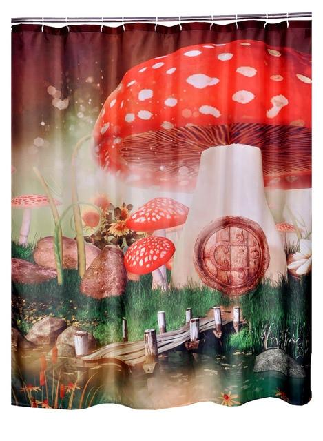 Bathroom Printed Polyester Fabric Mushroom Cartoon Style Shower Curtains Liner Waterproof Machine Washable Bath 7272