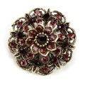 Factory Direct Sale Crystal Rhinestones Flower Brooch Pins for Women in Antique Gold Plated