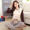 2016 женщин хлопка корейский длинными рукавами cartton большой размер пижамы наборы мягкой ночной рубашке мода стиле наборы пижамы