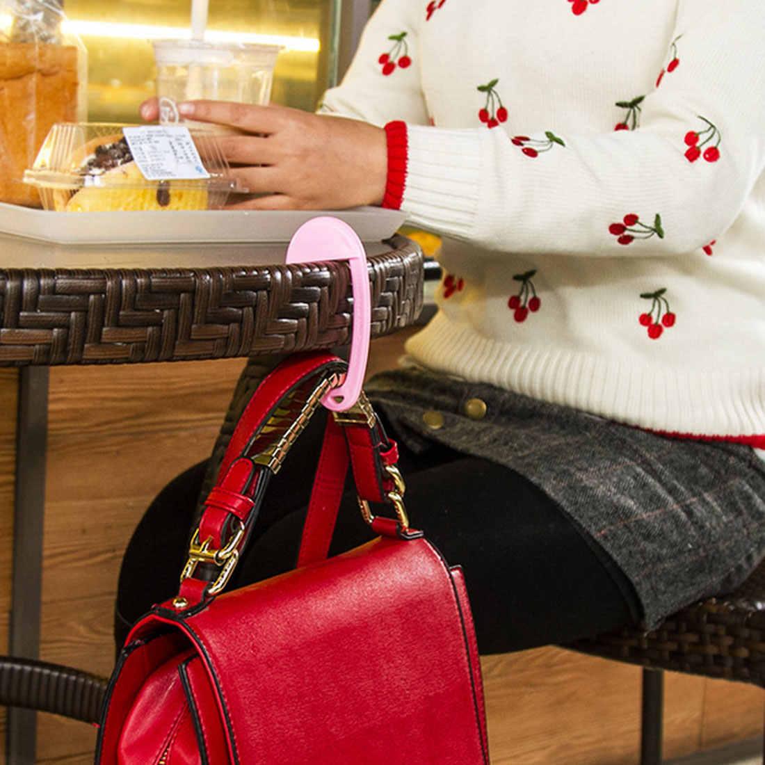 מיני נייד פלסטיק תיק וו בגדים ארנק תיק קולב אבזם מכשיר שולחן כיסא שולחן ברים תיק וו תיק מחזיק