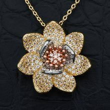Newness Blooming Flower Pendant Necklace High Quality Cubic Zircon Fashion Brass Bijouterie Gift