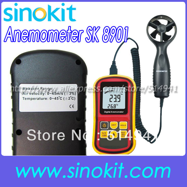 Wholesales Air Velocity: 0~45 m/s & Air Temperature: 0~45'C Wholesales Anemometer Meter SK8901 цена и фото