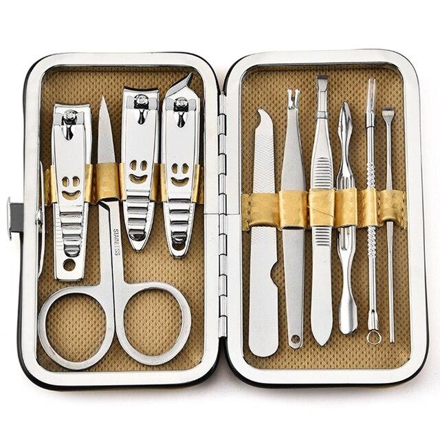 10 sztuk/zestaw narzędzia do Manicure zestaw paznokci Clipper nożyczki pęseta nóż zestaw do manikiuru wzór z kamieniem Case do paznokci Manicure